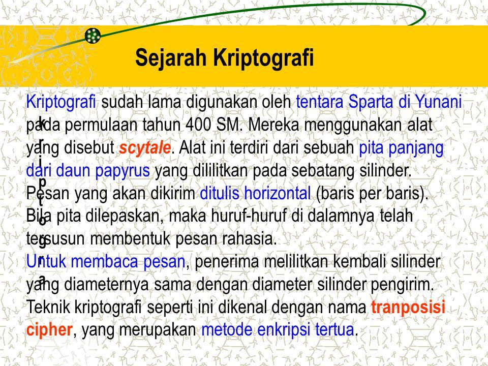 Sejarah Kriptografi kriptograkriptogra Kriptografi sudah lama digunakan oleh tentara Sparta di Yunani pada permulaan tahun 400 SM. Mereka menggunakan