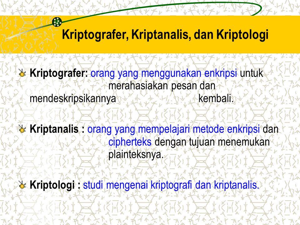 Kriptografer, Kriptanalis, dan Kriptologi Kriptografer: orang yang menggunakan enkripsi untuk merahasiakan pesan dan mendeskripsikannya kembali. Kript
