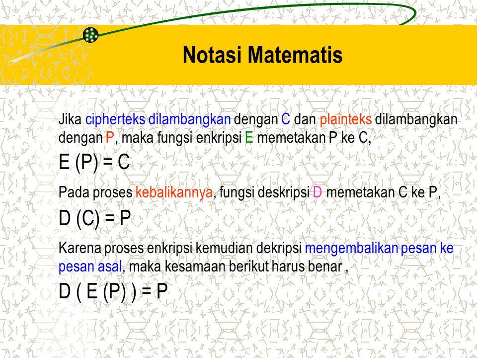Notasi Matematis Jika cipherteks dilambangkan dengan C dan plainteks dilambangkan dengan P, maka fungsi enkripsi E memetakan P ke C, E (P) = C Pada pr