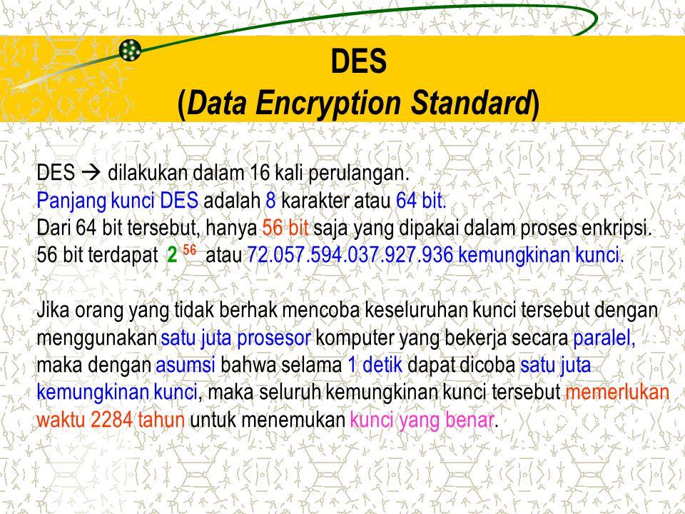 DES ( Data Encryption Standard ) DES  dilakukan dalam 16 kali perulangan. Panjang kunci DES adalah 8 karakter atau 64 bit. Dari 64 bit tersebut, hany