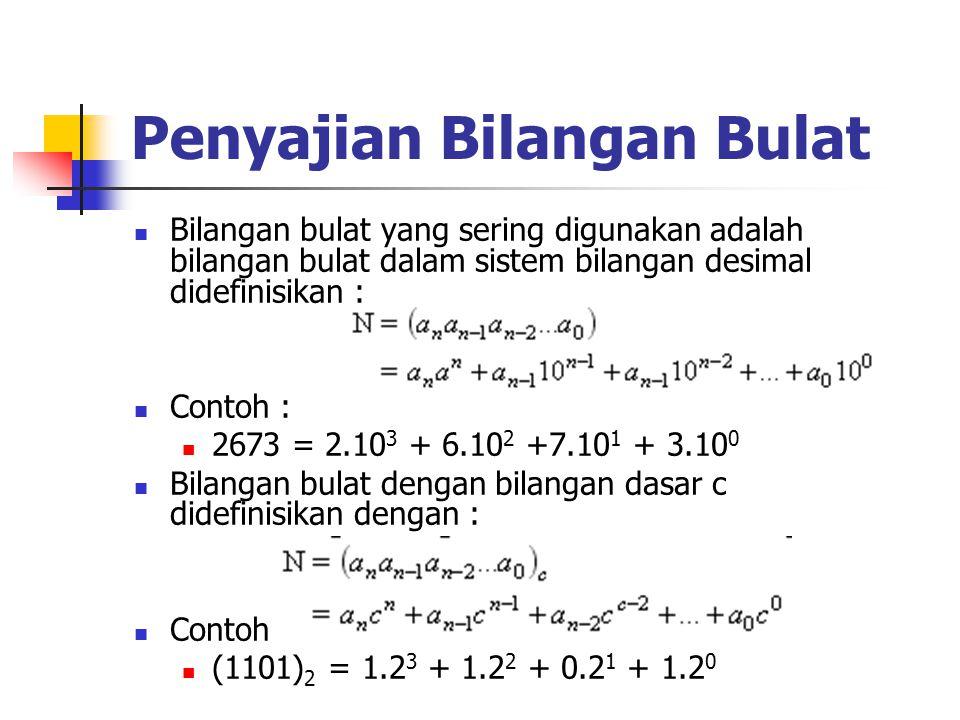 Penyajian Bilangan Bulat Bilangan bulat yang sering digunakan adalah bilangan bulat dalam sistem bilangan desimal didefinisikan : Contoh : 2673 = 2.10