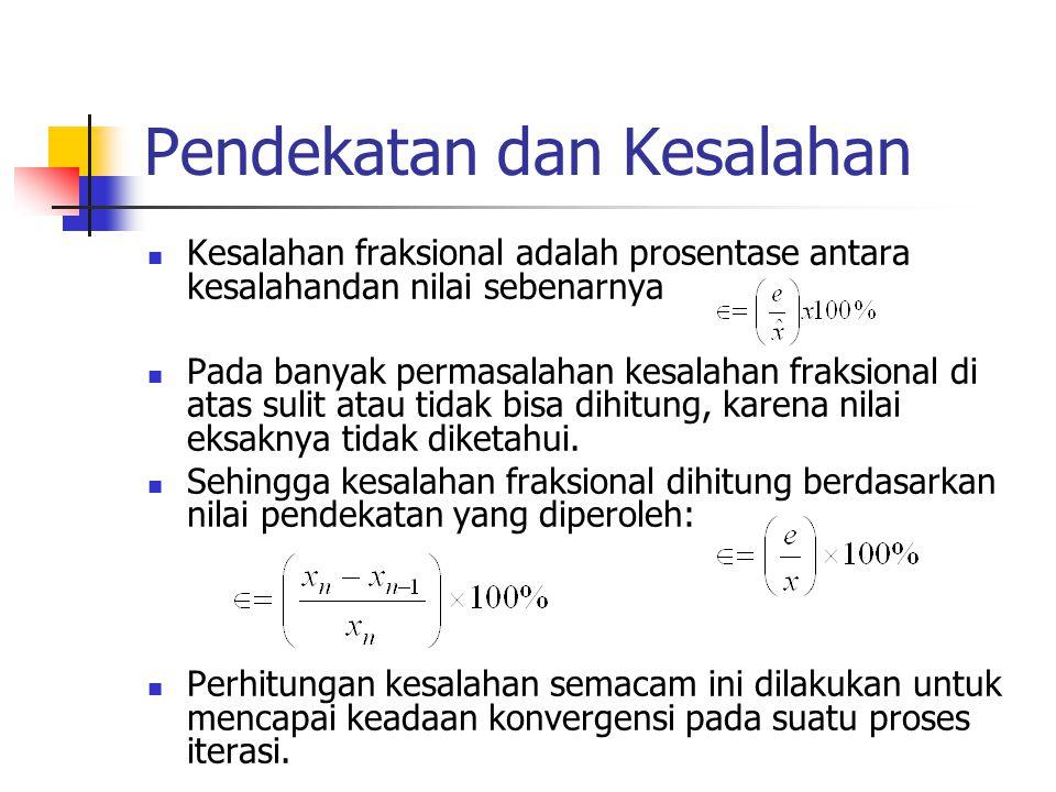 Pendekatan dan Kesalahan Kesalahan fraksional adalah prosentase antara kesalahandan nilai sebenarnya Pada banyak permasalahan kesalahan fraksional di