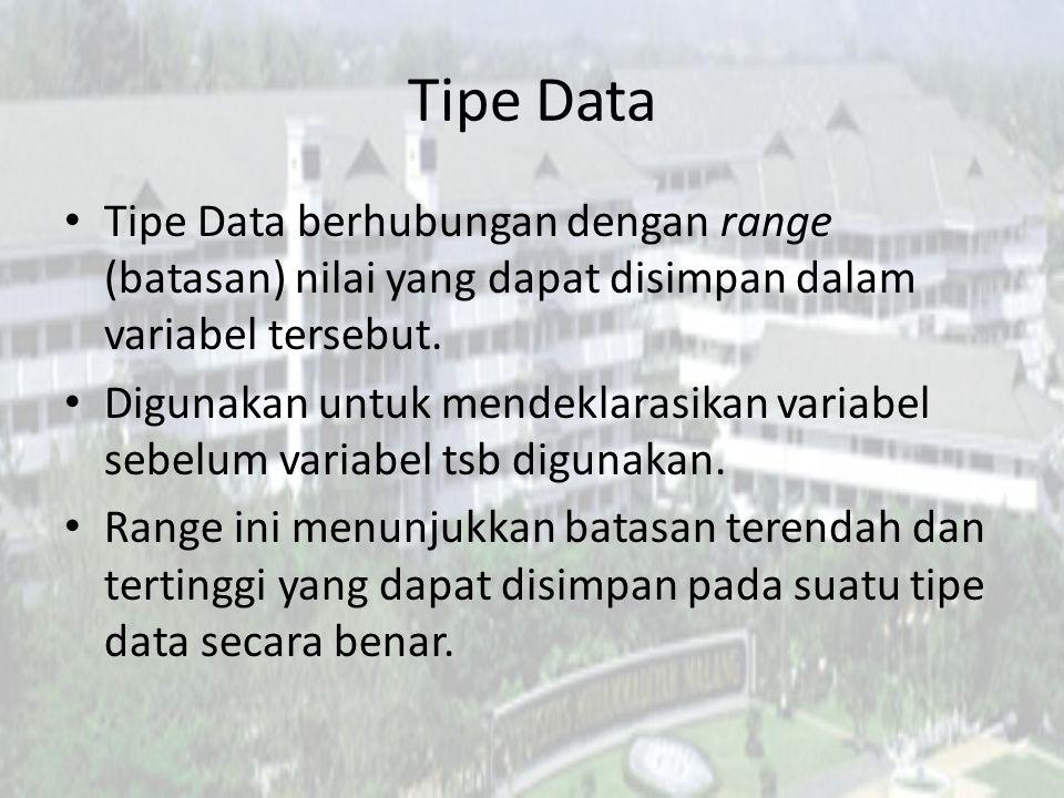 Tipe Data Tipe Data berhubungan dengan range (batasan) nilai yang dapat disimpan dalam variabel tersebut. Digunakan untuk mendeklarasikan variabel seb