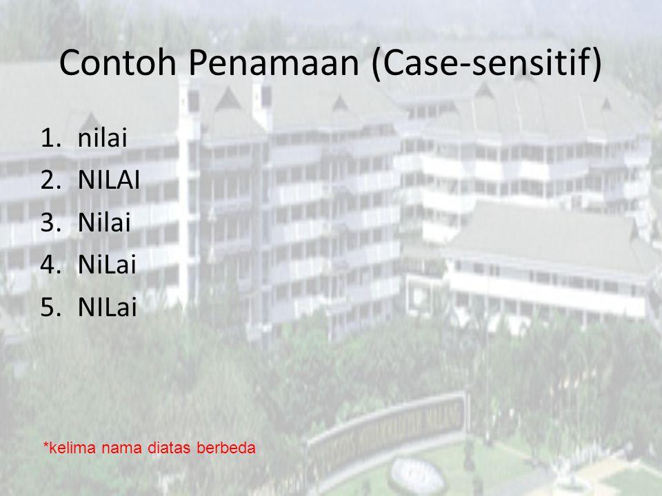 Contoh Penamaan (Case-sensitif) 1.nilai 2.NILAI 3.Nilai 4.NiLai 5.NILai *kelima nama diatas berbeda