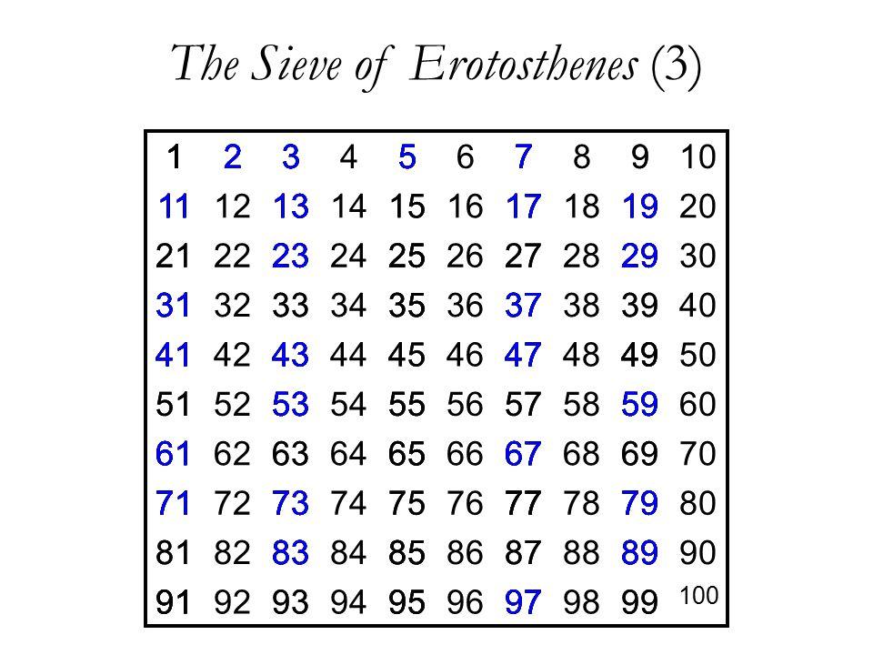The Sieve of Erotosthenes (3) 12345678910 11121314151617181920 21222324252627282930 31323334353637383940 41424344454647484950 51525354555657585960 616