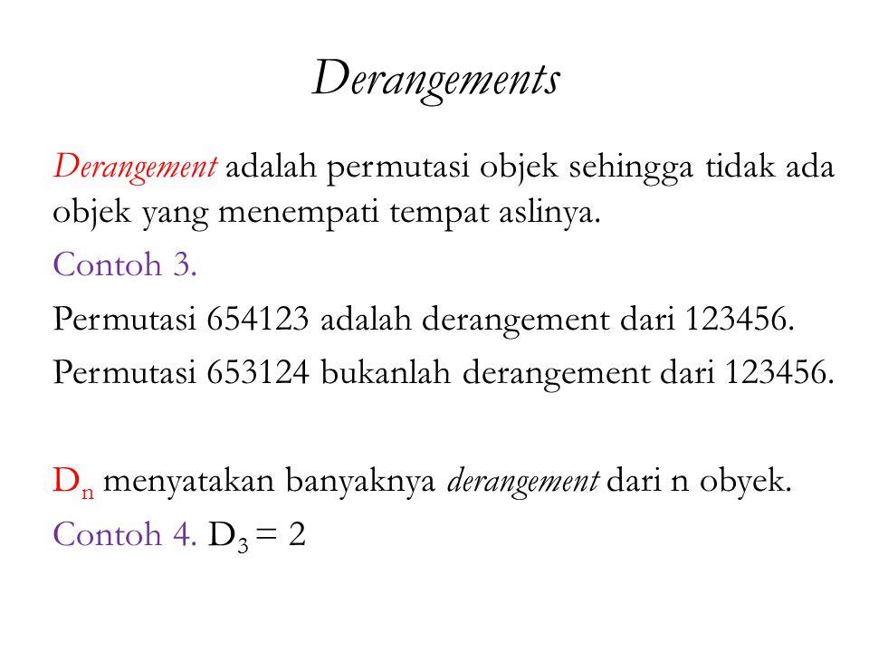 Derangements Derangement adalah permutasi objek sehingga tidak ada objek yang menempati tempat aslinya. Contoh 3. Permutasi 654123 adalah derangement