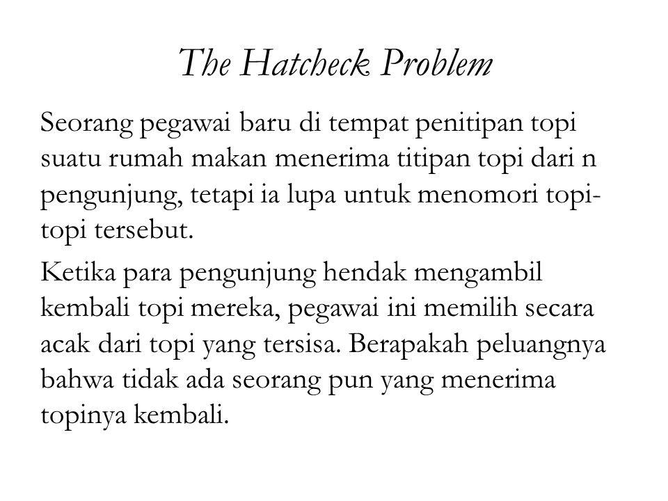 The Hatcheck Problem Seorang pegawai baru di tempat penitipan topi suatu rumah makan menerima titipan topi dari n pengunjung, tetapi ia lupa untuk men