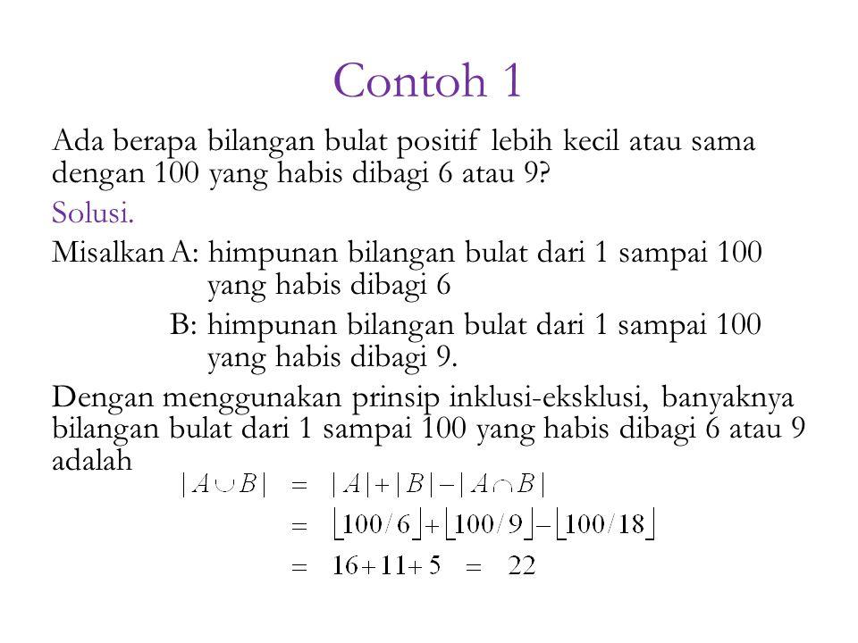Contoh 1 Ada berapa bilangan bulat positif lebih kecil atau sama dengan 100 yang habis dibagi 6 atau 9? Solusi. MisalkanA: himpunan bilangan bulat dar