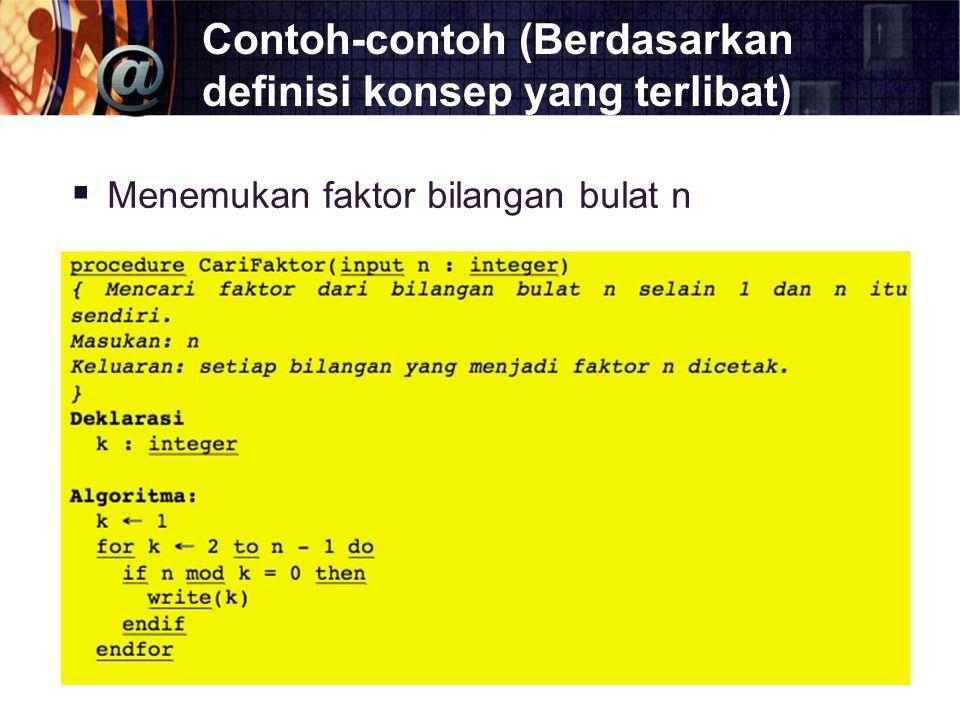 Contoh-contoh (Berdasarkan definisi konsep yang terlibat)  Menemukan faktor bilangan bulat n