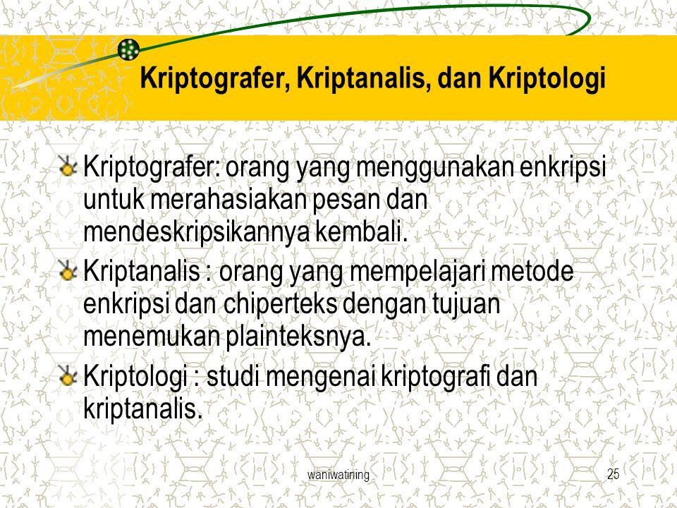 waniwatining25 Kriptografer, Kriptanalis, dan Kriptologi Kriptografer: orang yang menggunakan enkripsi untuk merahasiakan pesan dan mendeskripsikannya