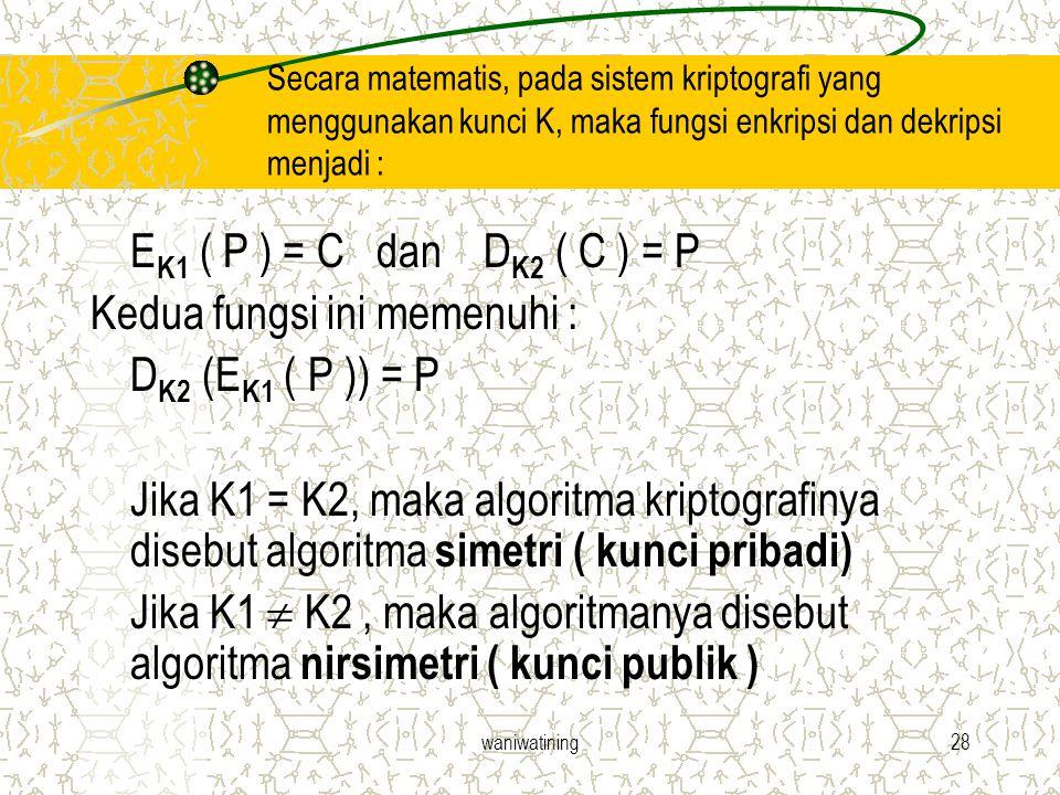 waniwatining28 Secara matematis, pada sistem kriptografi yang menggunakan kunci K, maka fungsi enkripsi dan dekripsi menjadi : E K1 ( P ) = C dan D K2