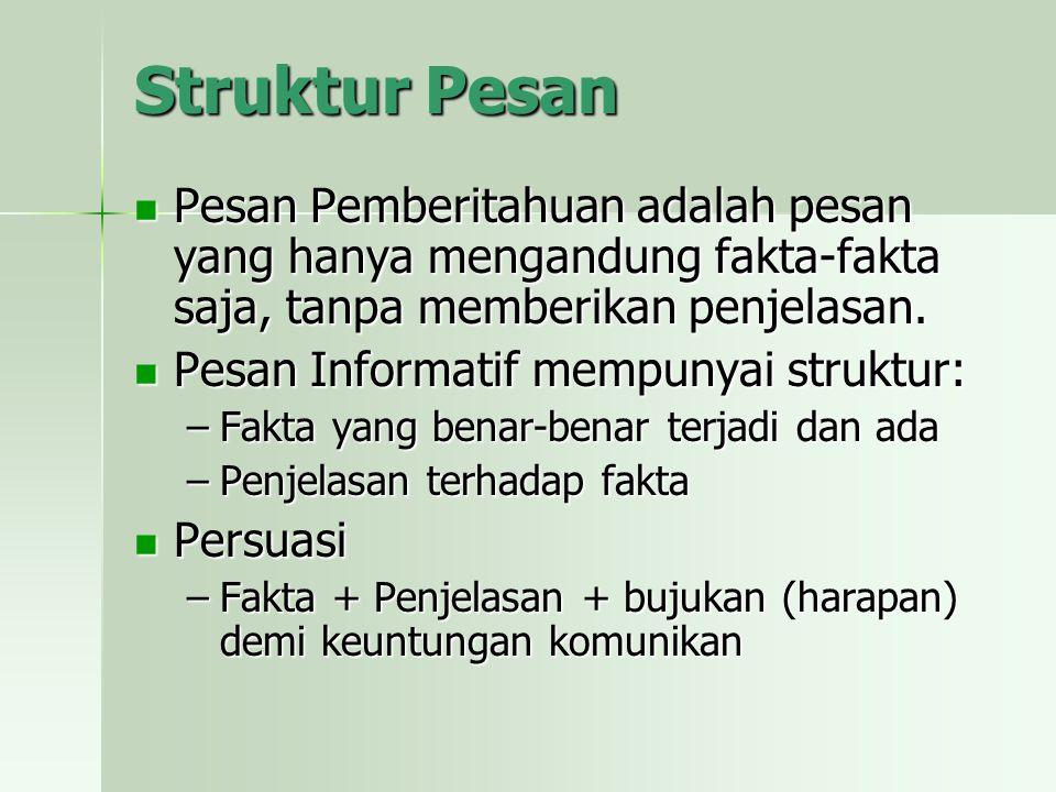 Struktur Pesan Pesan Pemberitahuan adalah pesan yang hanya mengandung fakta-fakta saja, tanpa memberikan penjelasan.