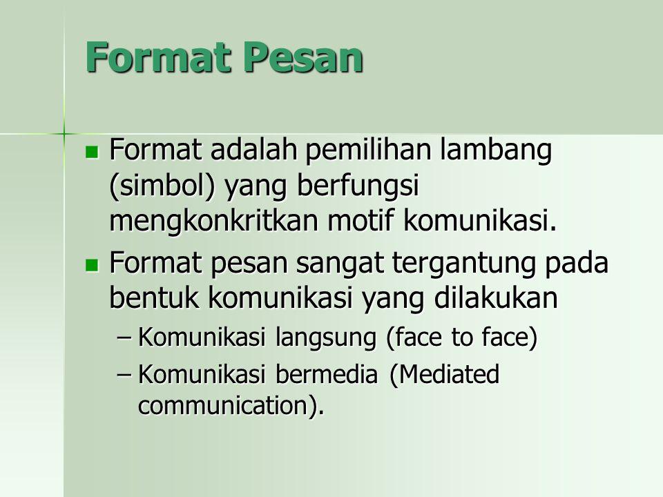 Format Pesan Format adalah pemilihan lambang (simbol) yang berfungsi mengkonkritkan motif komunikasi. Format adalah pemilihan lambang (simbol) yang be