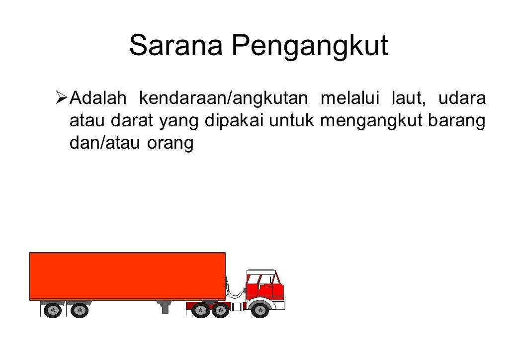 Sarana Pengangkut  Adalah kendaraan/angkutan melalui laut, udara atau darat yang dipakai untuk mengangkut barang dan/atau orang