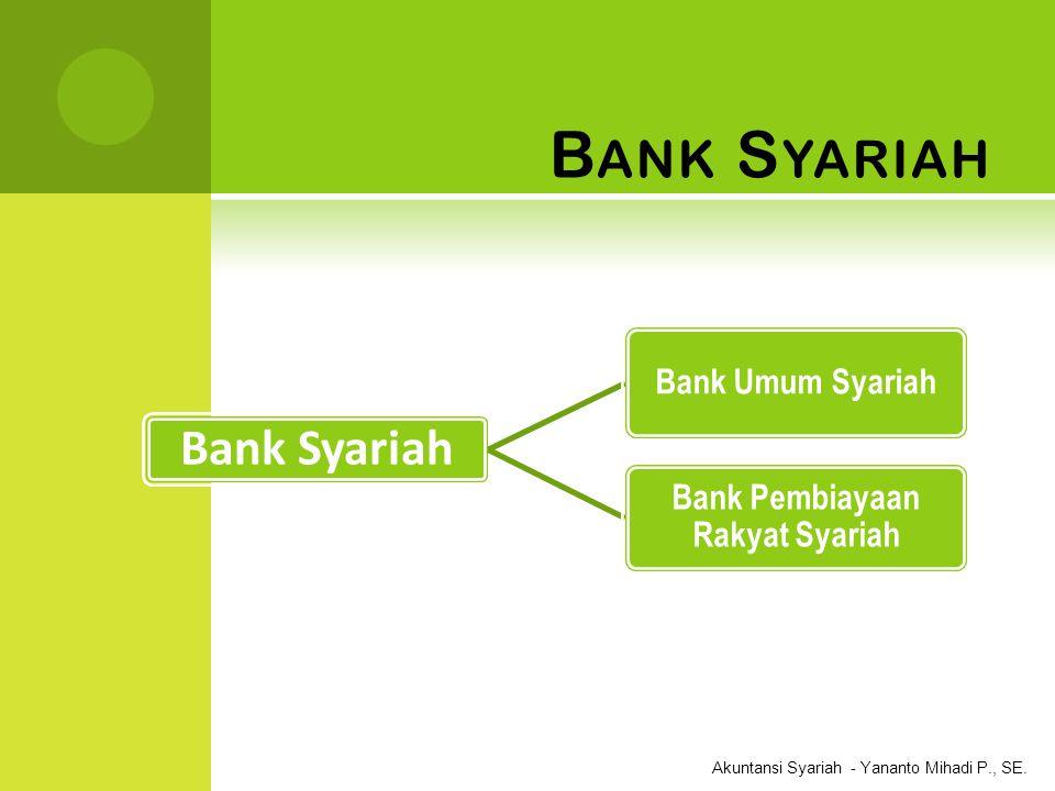 Akuntansi Syariah - Yananto Mihadi P., SE. B ANK S YARIAH Bank Syariah Bank Umum Syariah Bank Pembiayaan Rakyat Syariah