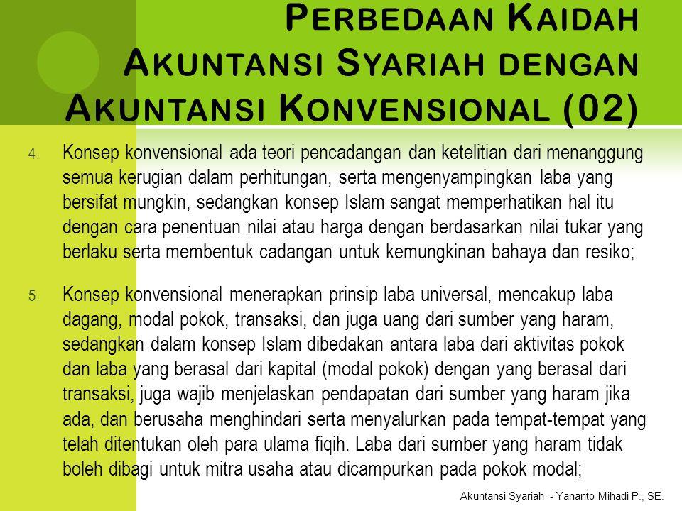 Akuntansi Syariah - Yananto Mihadi P., SE. P ERBEDAAN K AIDAH A KUNTANSI S YARIAH DENGAN A KUNTANSI K ONVENSIONAL (02) 4. Konsep konvensional ada teor