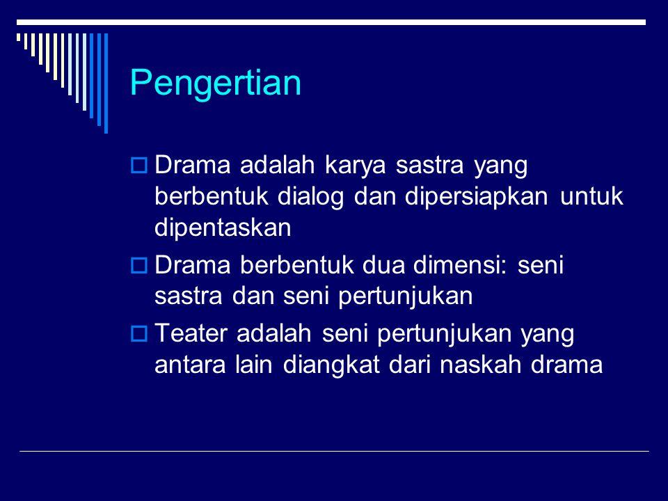Pengertian  Drama adalah karya sastra yang berbentuk dialog dan dipersiapkan untuk dipentaskan  Drama berbentuk dua dimensi: seni sastra dan seni pertunjukan  Teater adalah seni pertunjukan yang antara lain diangkat dari naskah drama