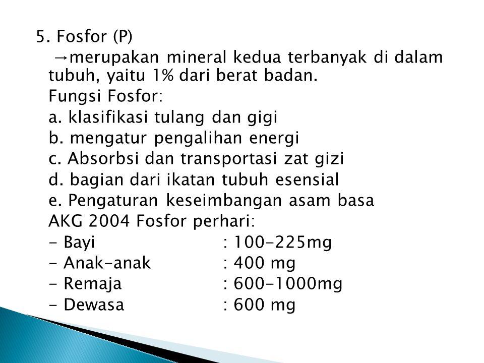 5. Fosfor (P) →merupakan mineral kedua terbanyak di dalam tubuh, yaitu 1% dari berat badan.