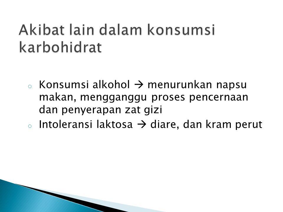 o Konsumsi alkohol  menurunkan napsu makan, mengganggu proses pencernaan dan penyerapan zat gizi o Intoleransi laktosa  diare, dan kram perut