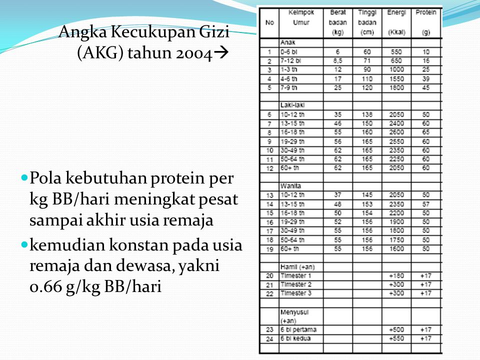 Angka Kecukupan Gizi (AKG) tahun 2004  Pola kebutuhan protein per kg BB/hari meningkat pesat sampai akhir usia remaja kemudian konstan pada usia rema