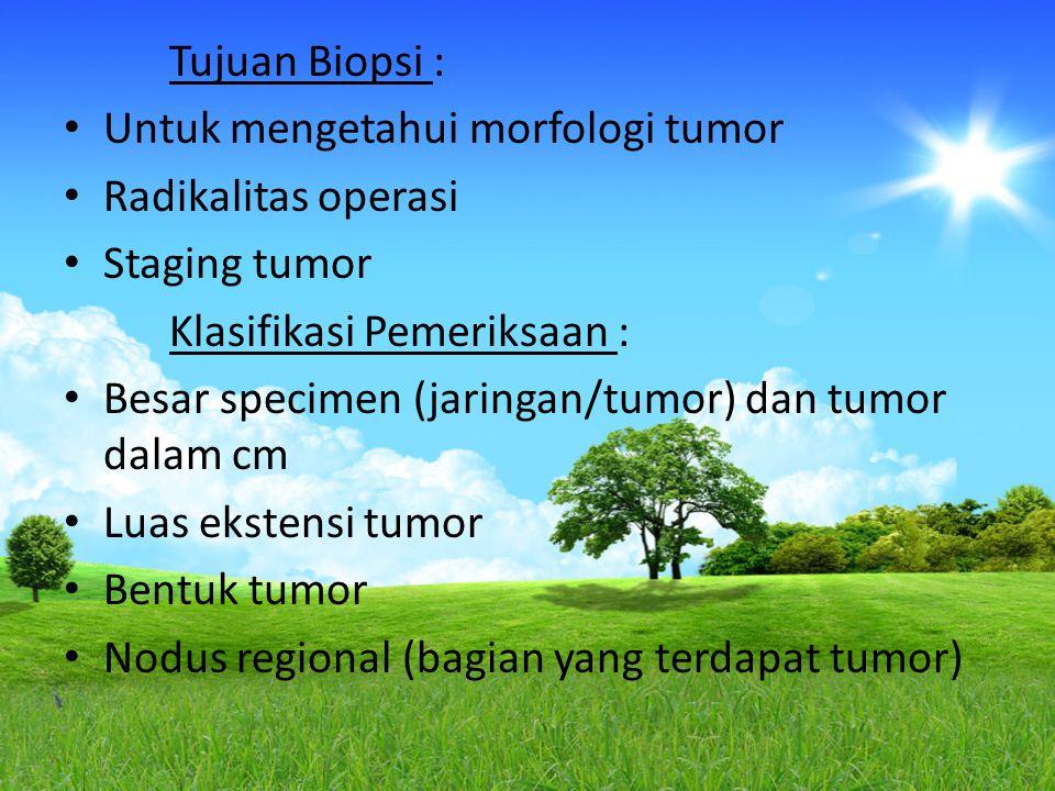 Tujuan Biopsi : Untuk mengetahui morfologi tumor Radikalitas operasi Staging tumor Klasifikasi Pemeriksaan : Besar specimen (jaringan/tumor) dan tumor