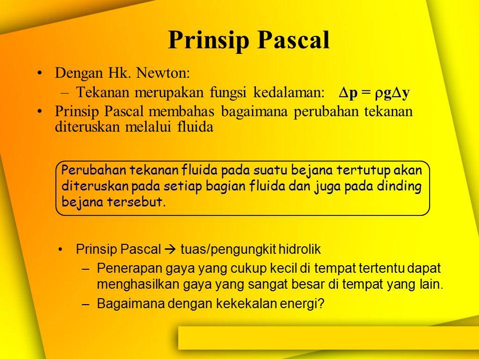 Prinsip Pascal: tekanan yang diterima oleh fluida dalam ruangan tertutup diteruskan ke segala arah sama besarnya. f h a A F 0 h' Akibat dikenakannya g