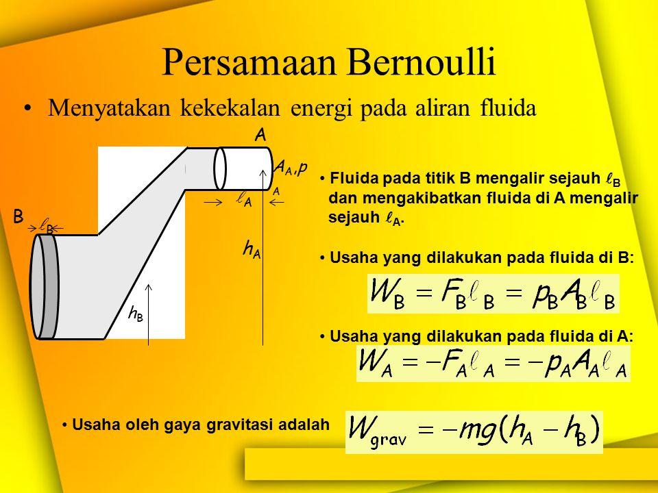 Asas Bernoulli dan Akibat-akibatnya. Asas Bernoulli : Perubahan tekanan dalam fluida mengalir dipengaruhi oleh perubahan kecepatan alirannya dan ketin