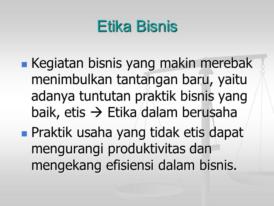 Etika Bisnis Kegiatan bisnis yang makin merebak menimbulkan tantangan baru, yaitu adanya tuntutan praktik bisnis yang baik, etis  Etika dalam berusaha Kegiatan bisnis yang makin merebak menimbulkan tantangan baru, yaitu adanya tuntutan praktik bisnis yang baik, etis  Etika dalam berusaha Praktik usaha yang tidak etis dapat mengurangi produktivitas dan mengekang efisiensi dalam bisnis.