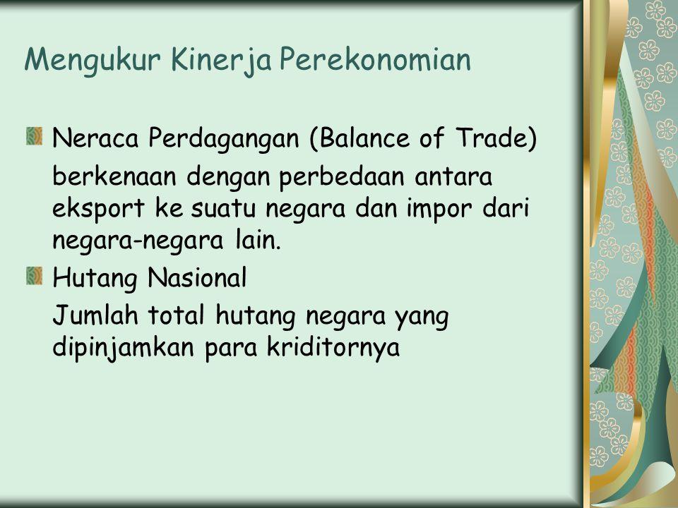 Mengukur Kinerja Perekonomian Neraca Perdagangan (Balance of Trade) berkenaan dengan perbedaan antara eksport ke suatu negara dan impor dari negara-negara lain.