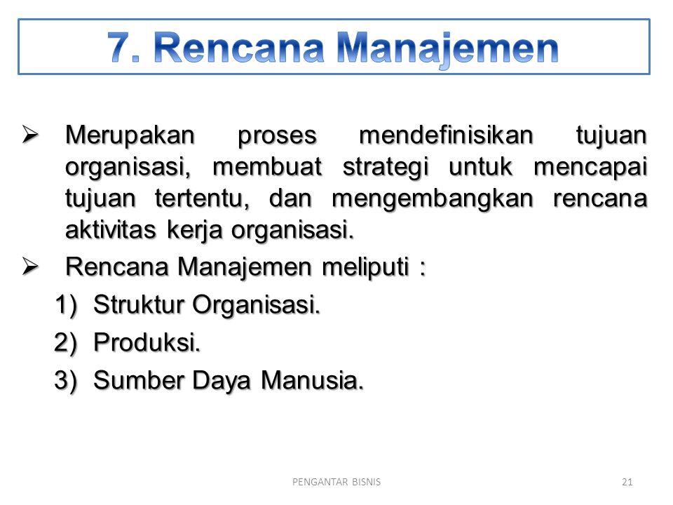  Merupakan proses mendefinisikan tujuan organisasi, membuat strategi untuk mencapai tujuan tertentu, dan mengembangkan rencana aktivitas kerja organi