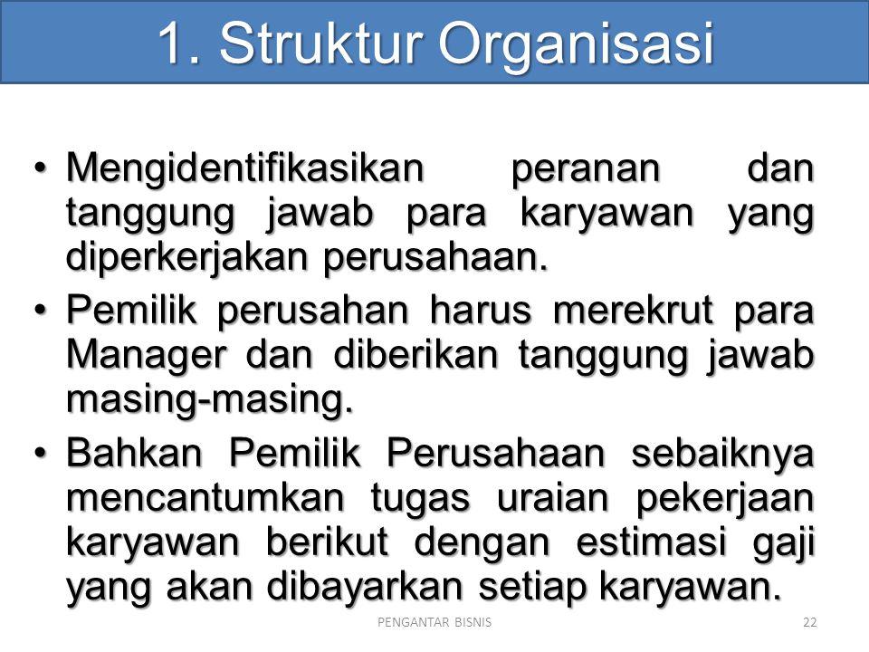 1. Struktur Organisasi Mengidentifikasikan peranan dan tanggung jawab para karyawan yang diperkerjakan perusahaan.Mengidentifikasikan peranan dan tang