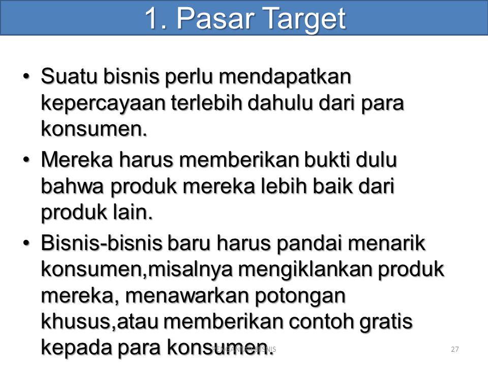 1. Pasar Target Suatu bisnis perlu mendapatkan kepercayaan terlebih dahulu dari para konsumen.Suatu bisnis perlu mendapatkan kepercayaan terlebih dahu