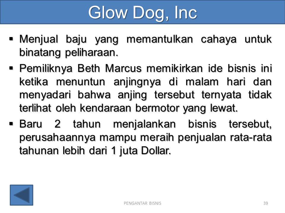 Glow Dog, Inc  Menjual baju yang memantulkan cahaya untuk binatang peliharaan.  Pemiliknya Beth Marcus memikirkan ide bisnis ini ketika menuntun anj