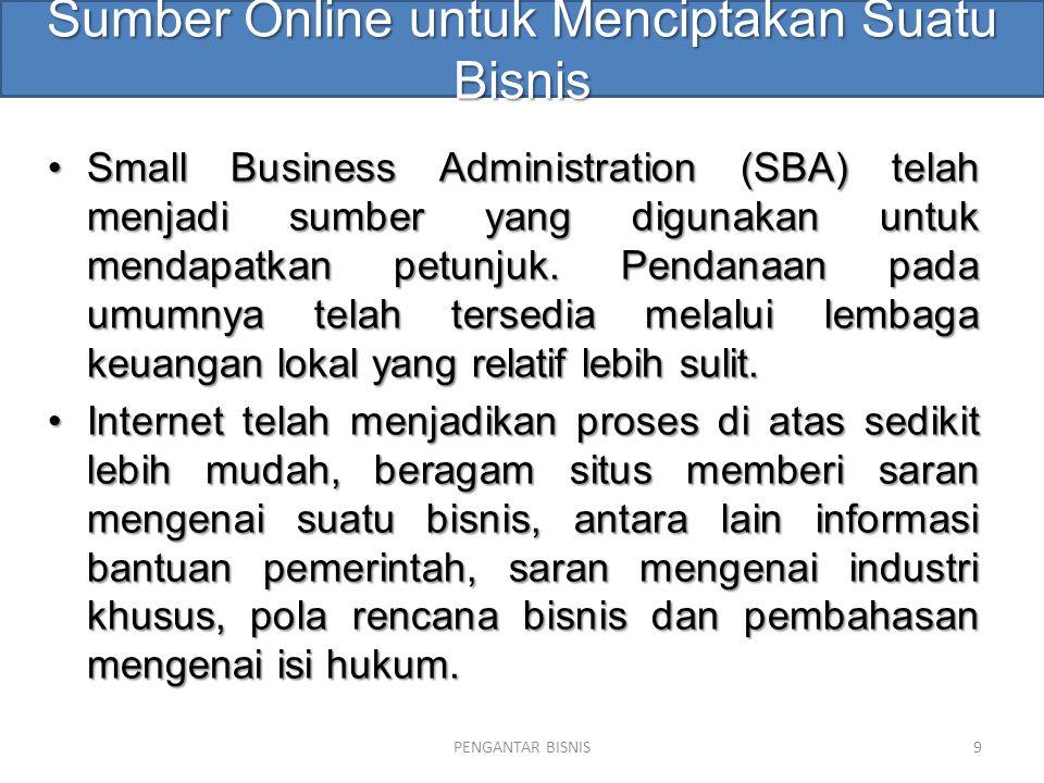Sumber Online untuk Menciptakan Suatu Bisnis Small Business Administration (SBA) telah menjadi sumber yang digunakan untuk mendapatkan petunjuk. Penda