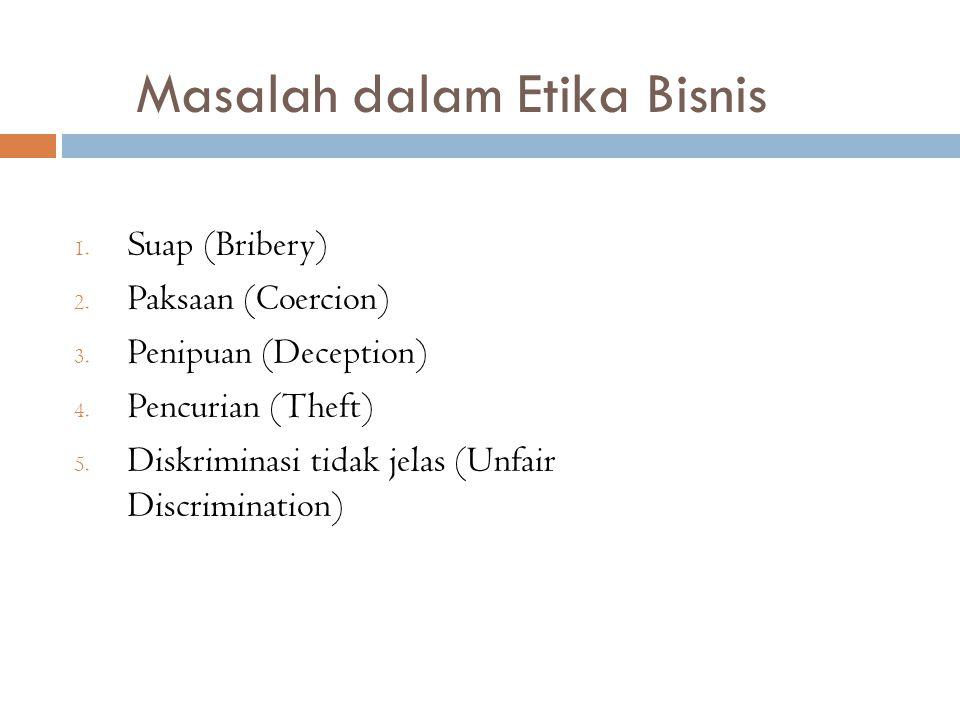 Masalah dalam Etika Bisnis 1. Suap (Bribery) 2. Paksaan (Coercion) 3. Penipuan (Deception) 4. Pencurian (Theft) 5. Diskriminasi tidak jelas (Unfair Di