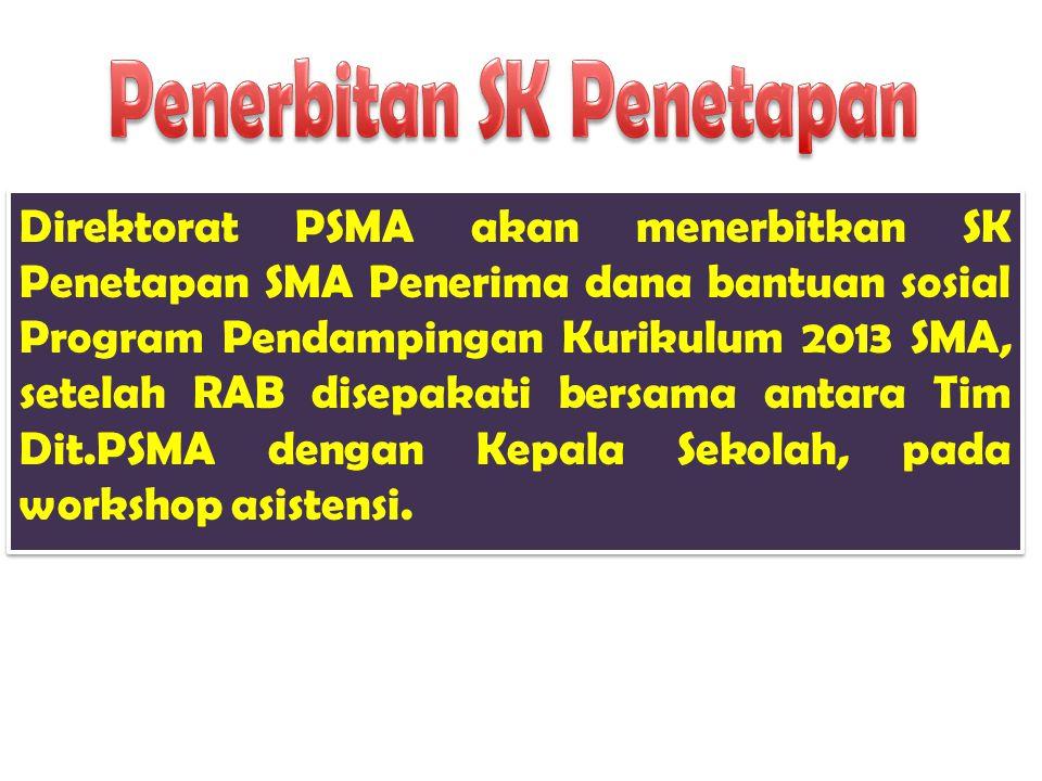 Direktorat PSMA akan menerbitkan SK Penetapan SMA Penerima dana bantuan sosial Program Pendampingan Kurikulum 2013 SMA, setelah RAB disepakati bersama antara Tim Dit.PSMA dengan Kepala Sekolah, pada workshop asistensi.