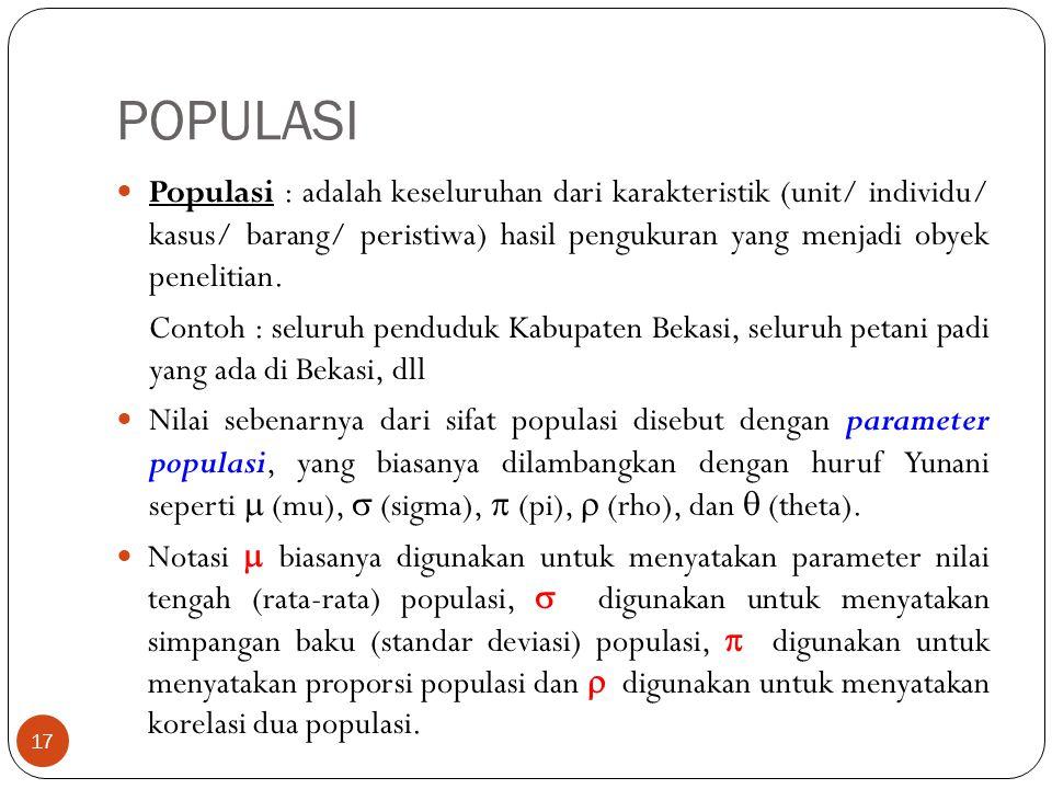 POPULASI Populasi : adalah keseluruhan dari karakteristik (unit/ individu/ kasus/ barang/ peristiwa) hasil pengukuran yang menjadi obyek penelitian.