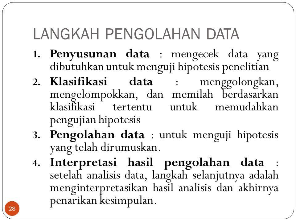 LANGKAH PENGOLAHAN DATA 1. Penyusunan data : mengecek data yang dibutuhkan untuk menguji hipotesis penelitian 2. Klasifikasi data : menggolongkan, men