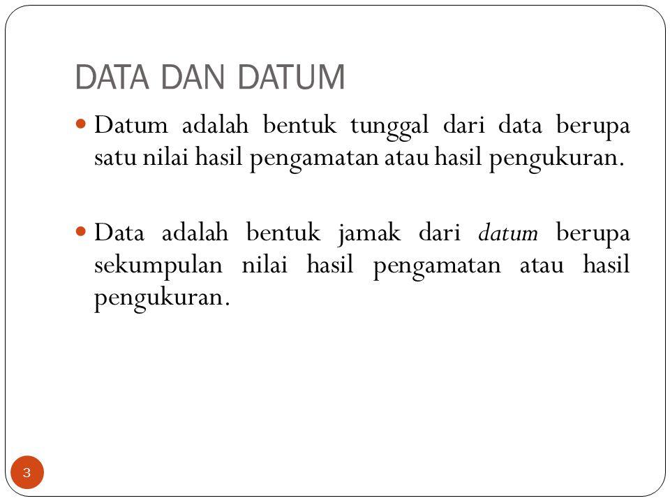 DATA DAN DATUM Datum adalah bentuk tunggal dari data berupa satu nilai hasil pengamatan atau hasil pengukuran. Data adalah bentuk jamak dari datum ber
