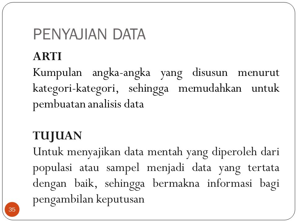 PENYAJIAN DATA ARTI Kumpulan angka-angka yang disusun menurut kategori-kategori, sehingga memudahkan untuk pembuatan analisis data TUJUAN Untuk menyajikan data mentah yang diperoleh dari populasi atau sampel menjadi data yang tertata dengan baik, sehingga bermakna informasi bagi pengambilan keputusan 35
