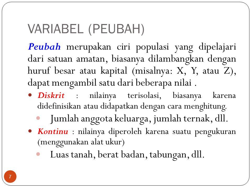 VARIABEL (PEUBAH) Peubah merupakan ciri populasi yang dipelajari dari satuan amatan, biasanya dilambangkan dengan huruf besar atau kapital (misalnya: X, Y, atau Z), dapat mengambil satu dari beberapa nilai.