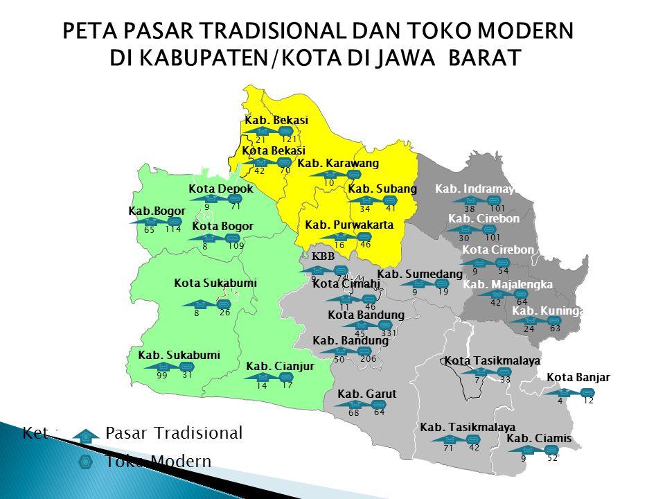 PETA PASAR TRADISIONAL DAN TOKO MODERN DI KABUPATEN/KOTA DI JAWA BARAT Kab. Karawang Kota Bandung Kab. Ciamis Kab. Tasikmalaya Kab. Cirebon Kab.Bogor