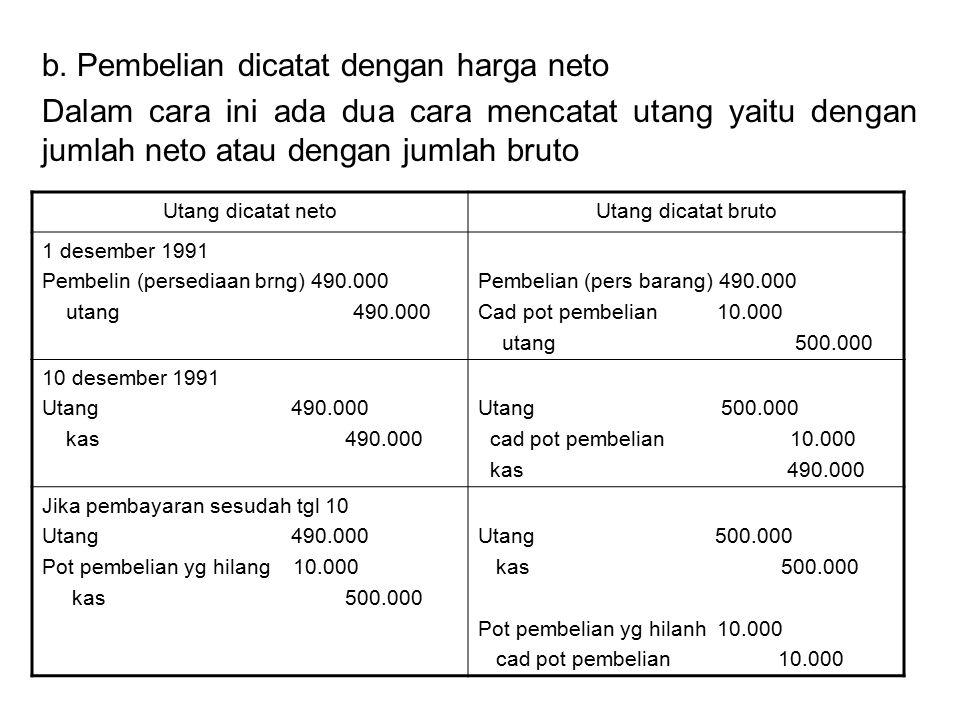 b. Pembelian dicatat dengan harga neto Dalam cara ini ada dua cara mencatat utang yaitu dengan jumlah neto atau dengan jumlah bruto Utang dicatat neto