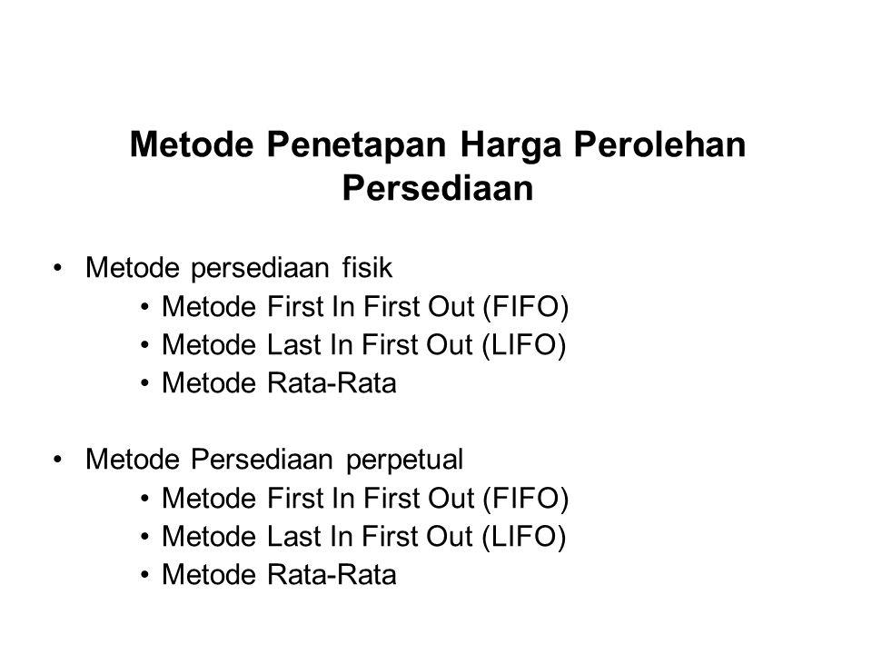 Metode Penetapan Harga Perolehan Persediaan Metode persediaan fisik Metode First In First Out (FIFO) Metode Last In First Out (LIFO) Metode Rata-Rata