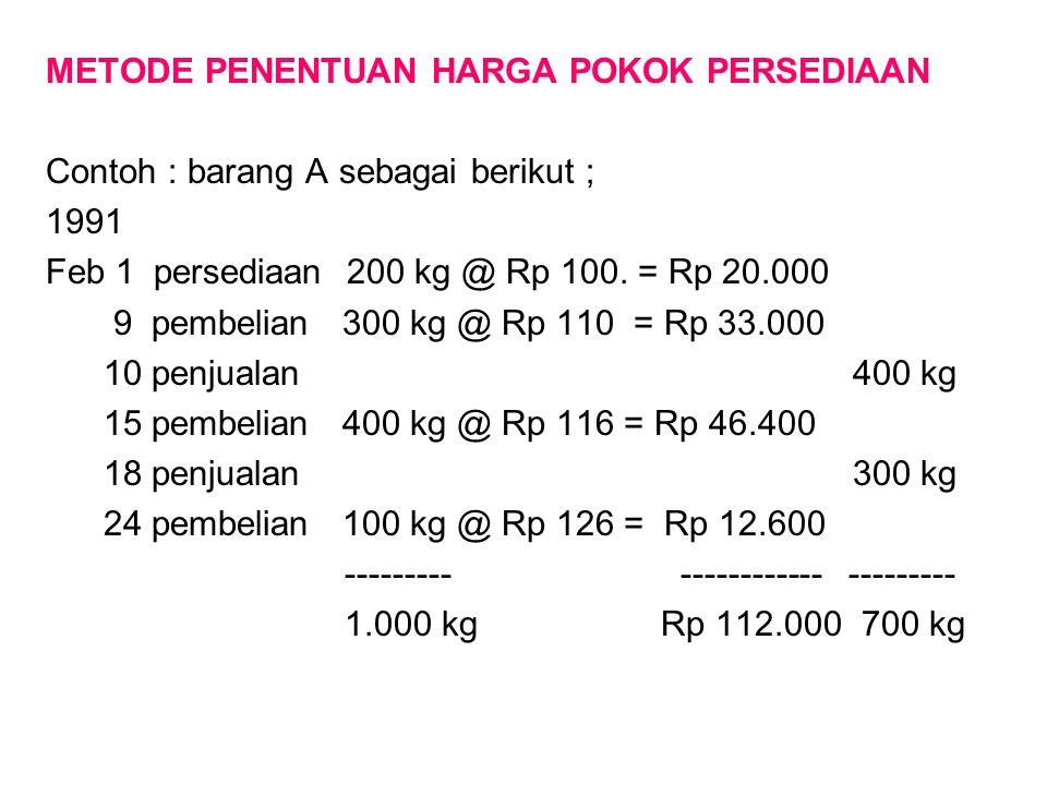 METODE PENENTUAN HARGA POKOK PERSEDIAAN Contoh : barang A sebagai berikut ; 1991 Feb 1 persediaan 200 kg @ Rp 100. = Rp 20.000 9 pembelian 300 kg @ Rp