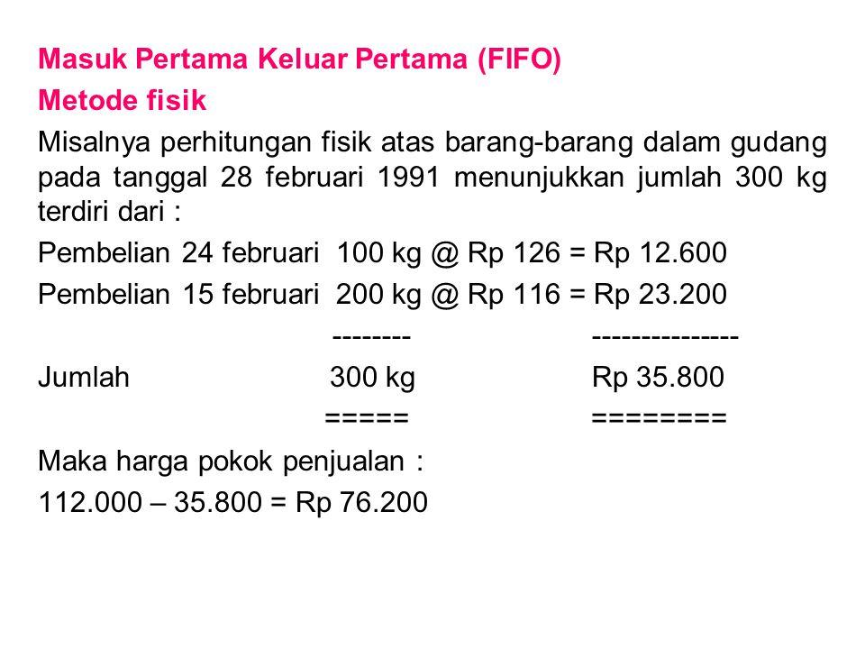 Masuk Pertama Keluar Pertama (FIFO) Metode fisik Misalnya perhitungan fisik atas barang-barang dalam gudang pada tanggal 28 februari 1991 menunjukkan