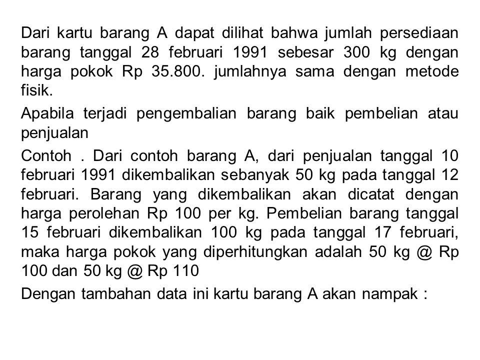 Dari kartu barang A dapat dilihat bahwa jumlah persediaan barang tanggal 28 februari 1991 sebesar 300 kg dengan harga pokok Rp 35.800. jumlahnya sama