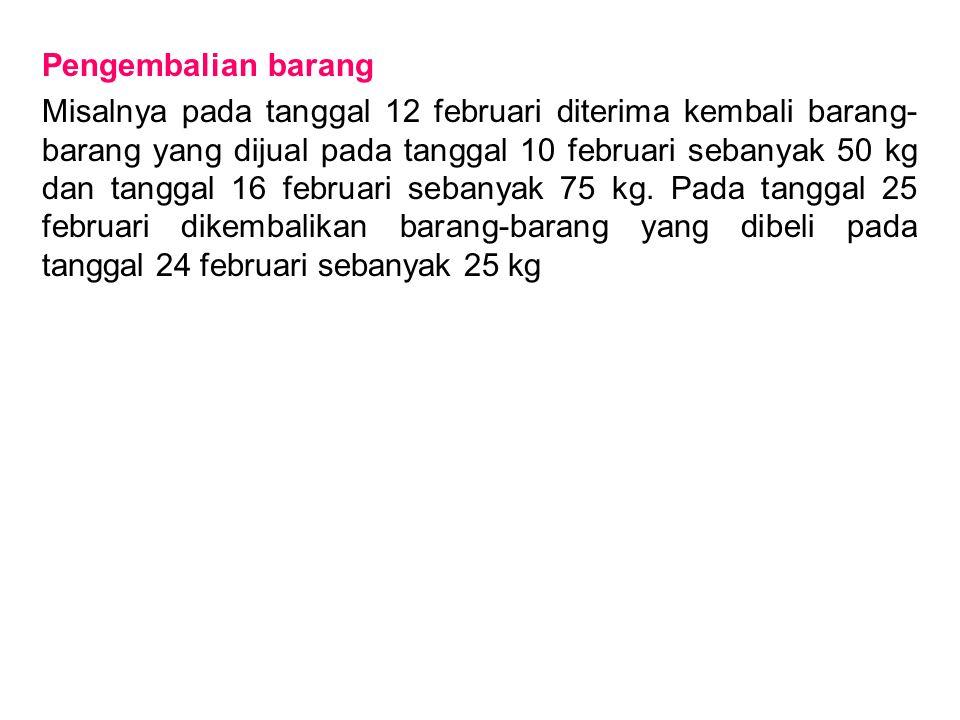 Pengembalian barang Misalnya pada tanggal 12 februari diterima kembali barang- barang yang dijual pada tanggal 10 februari sebanyak 50 kg dan tanggal