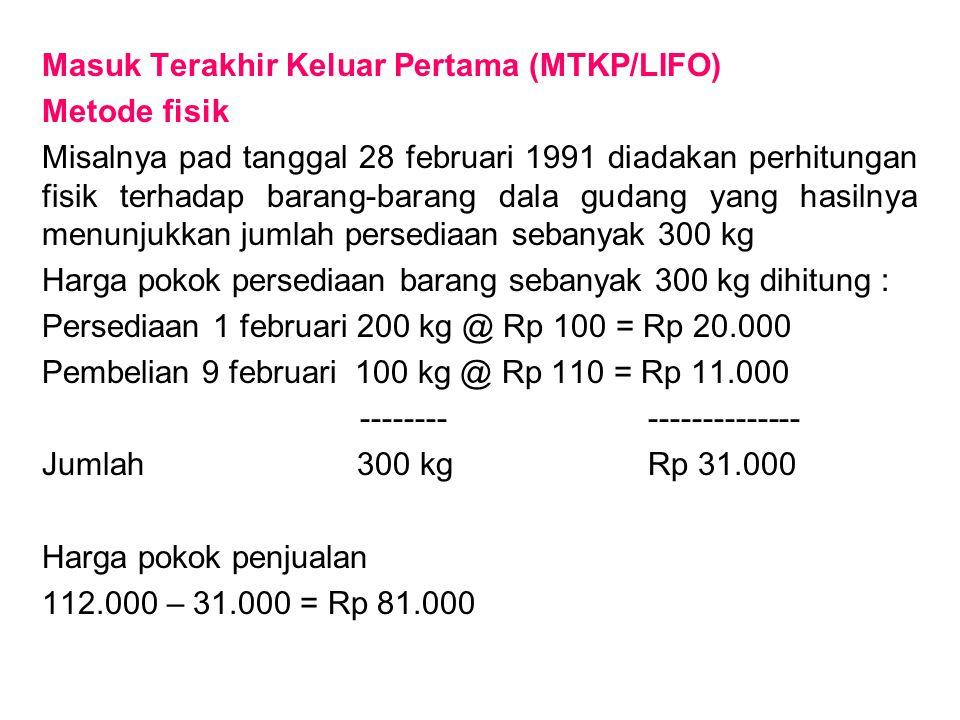 Masuk Terakhir Keluar Pertama (MTKP/LIFO) Metode fisik Misalnya pad tanggal 28 februari 1991 diadakan perhitungan fisik terhadap barang-barang dala gu