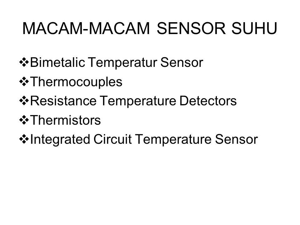 MACAM-MACAM SENSOR SUHU  Bimetalic Temperatur Sensor  Thermocouples  Resistance Temperature Detectors  Thermistors  Integrated Circuit Temperature Sensor